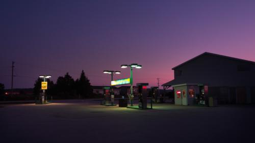 Tankstation, Zonsondergang, Verlaten, Shoot, PONYfilm